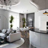 Натяжной потолок для интерьера в стиле хай-тек