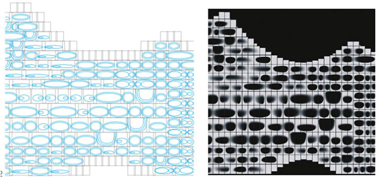 Параметрический стеклянный фасад с вариациями и повторением стеклянных модулей