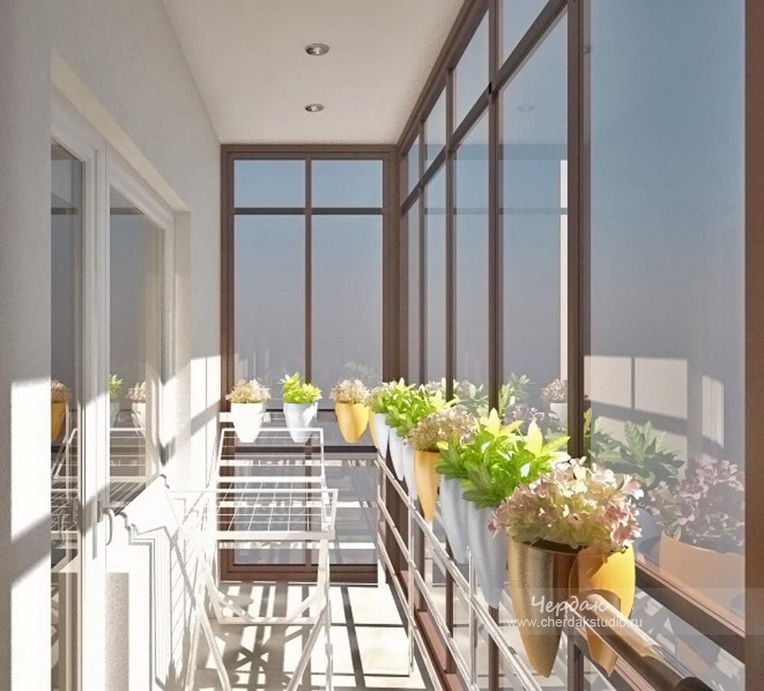 Дизайн балкона с витрожными окнами